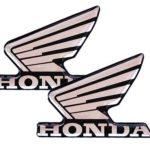 Ζευγάρι Αυτοκόλλητα ανάγλυφα φτερά Honda (4,5 x 6 εκ.) Χρώμιο-μαύρο