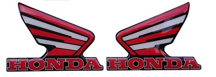 Ζευγάρι Αυτοκόλλητα ανάγλυφα φτερά Honda (4,5 x 6 εκ.) λευκό-κόκκινο-μαύρο