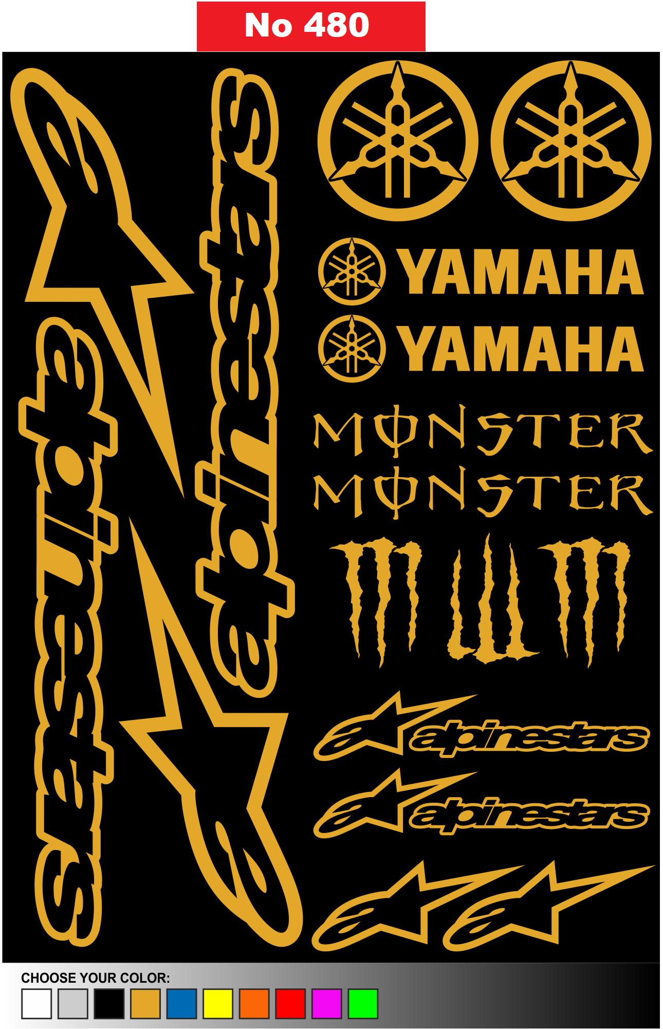 Αυτοκόλλητη καρτέλα με 15 αυτοκόλλητα AlpineStars Yamaha Κωδ.480
