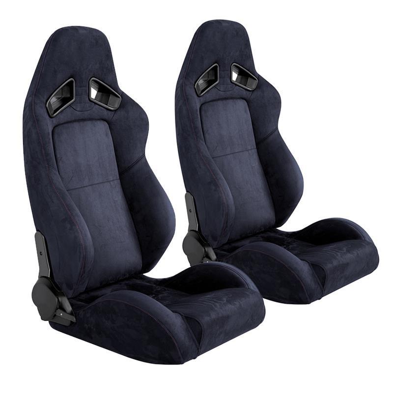 Κάθισμα Αγωνιστικό Σουέτ Ανακλινόμενο Μαύρο 1τμχ