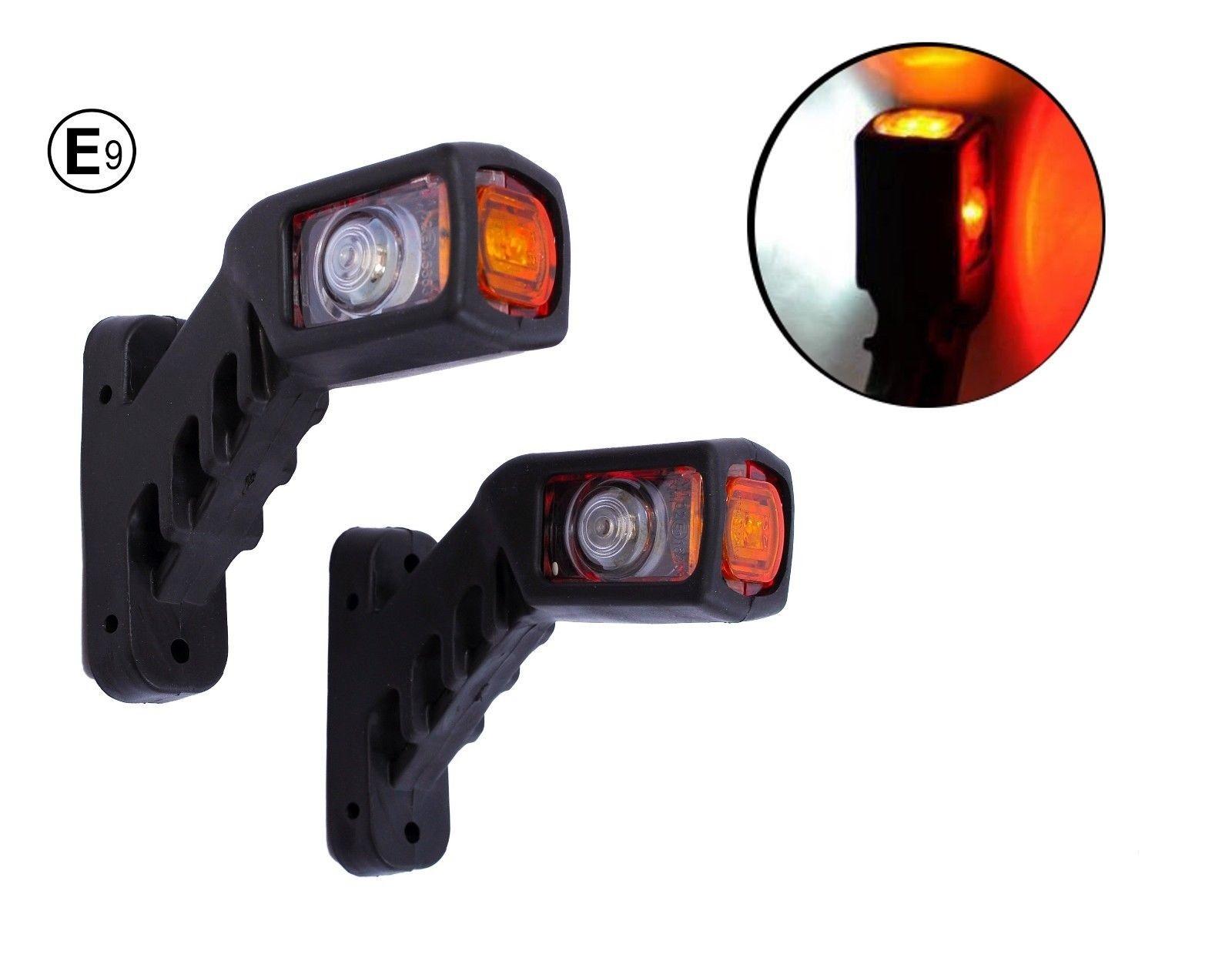 Τριπλά πλευρικά φώτα θέσης κόκκινα λευκά κίτρινα LED 12V (τ. κέρατα), ζεύγος (2 τεμάχια)