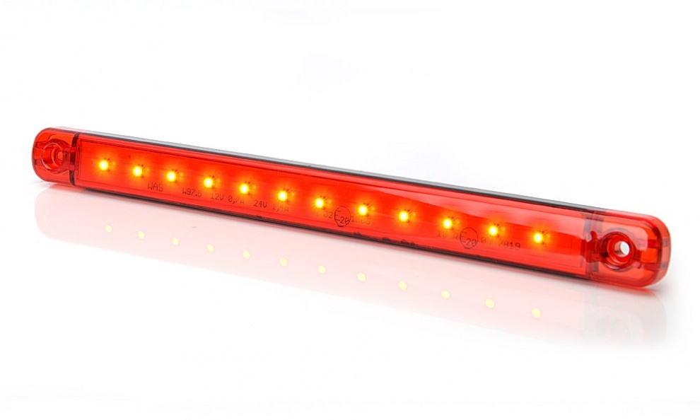 LED Φωτιστικό Πλευρικής Σήμανσης 24cm Κόκκινο με Е-Mark 12V 24V IP68